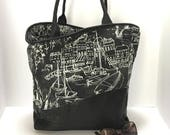 Lambskin and fabric tote bag - Large quot Come Sail Away quot tote - Everyday bag - Travel tote - Weekend purse