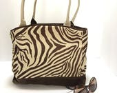 Leather and fabric tote bag - Medium quot Zebra quot tote - Everyday bag - Travel tote - Weekend purse