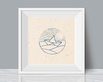 paper boat print
