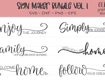 Sign Maker Bundle Vol. 1 - 6 Digital Cut Files - svg, dxf, png, eps - Farmhouse sign