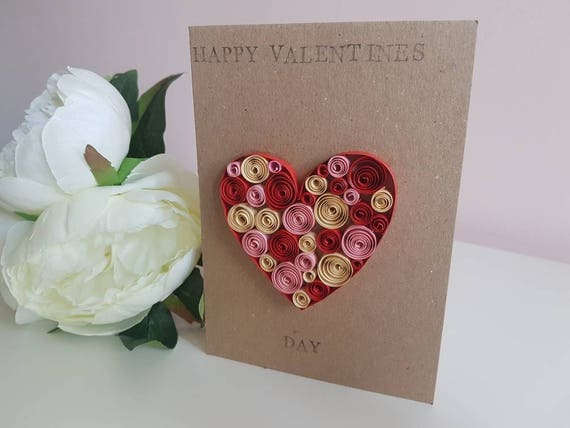 Valentines Day Paper Quilled Card Red Pink And Cream Heart Etsy