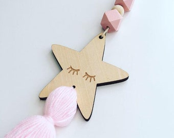 Girls room decor, nursery decor, tassel garland, wooden garland, bead garland, boho decor, tassel mobile, baby gift