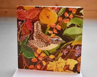 Jenny Wren Card - wren greeting card, bird card, bird greeting card, wren birthday card, blank inside card, wren batik card, garden bird