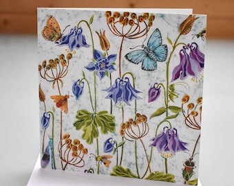 Aquilegia and Butterflies Card - aquilegia card, flower card, butterfly card, insects and flowers card, flowers birthday card, blank inside