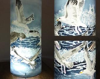 Tall Cylindrical Bedside Table Lamp Shell Island Seagulls - elegant ambient mood lighting herring gull bird nature lover, sea bird art