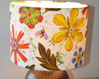 Bees In The Jewel Lampshade - bee lamp shade, flower lampshade, floral lampshade, wild flower lampshade, pretty lampshade, insect lampshade