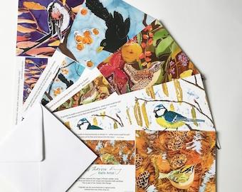 Favourite Garden Birds Art Cards Multipack of 5, garden bird art cards, garden bird greeting cards, bird art cards, bird greeting cards