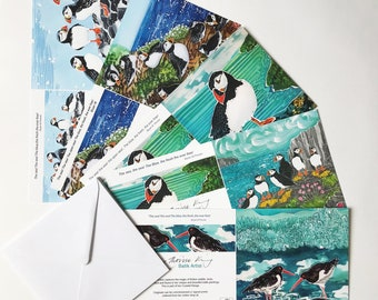 Mostly Puffins Art Cards Multipack of 5, puffin art cards, puffin greeting cards, sea bird art cards, seaside greeting cards, blank inside