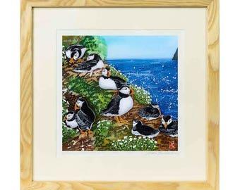 The Wick Skomer - Limited edition print of batik, puffin print, seaside print, sea bird print, skomer island print, coastal print, bird art