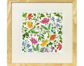 Summer Garden - Limited edition print of batik, flowers print, butterfly print, wild flower print, wild flower art, british garden flowers