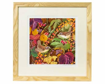 Wrens in Autumn Giclee Print - Limited edition print of batik, bird print, jenny wren print, bird lover gift, garden bird print, bird art