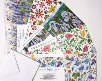 Floral Designs 1 Multipack of 5 Art, flower art cards, floral art cards, flower greeting cards, floral greeting cards, botanical art card