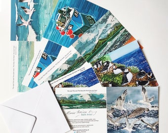Coastal Art Cards Multipack of 5, coastal art cards, coastal greeting cards, seaside art cards, seaside greeting cards, sea bird art cards