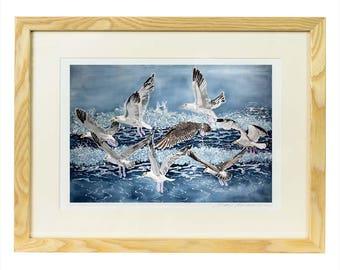Shell Island Seagulls Print, seagull fine art print, seaside print, sea bird art, coastal bird print, sea lover gift, bird lover unframed