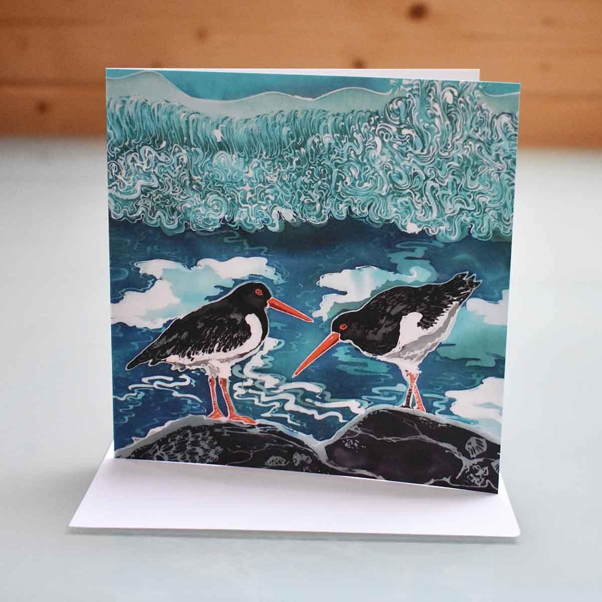 shell island oyster catcher card bird card bird greeting etsy. Black Bedroom Furniture Sets. Home Design Ideas