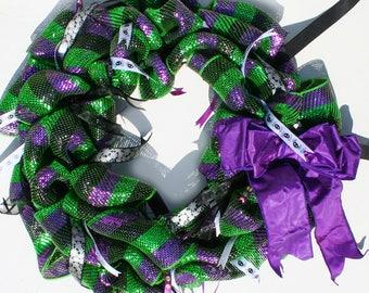 Halloween Mesh Wreath with Purple Bow