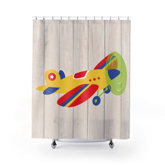 Airplane Designed Shower Curtain Bathroom
