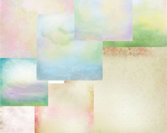 Digital Collage Sheets to Download, Decoupage paper, paper for decoupage, decorative paper, BACKGROUNDS, Vintage watercolor scrapbooking