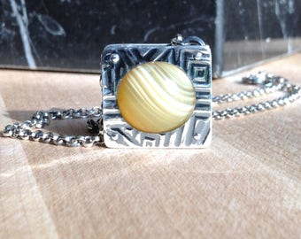 Sterling Silver Necklace  with Yellow Agate Cabochon,  Handmade by Valka Jewelry.