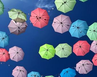 Umbrellas in a Blue Sky - Digital photography download