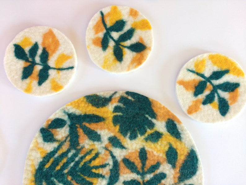 100/% Pure Wool Colourful Tropical Wool Coasters Eco Home Decor Handmade Felt Art Pack of 6 Felt Coasters