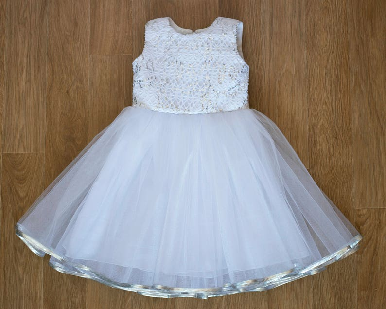 White Baby Girls Christening Dress Baptism Dress Silver Sequin Tulle Baby  Girl Dress white church dress christening dress baby baptism gown e03b8498293d