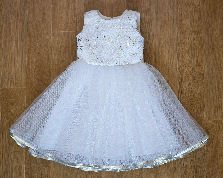 White Baby Girls Christening Dress Baptism Dress Silver Sequin
