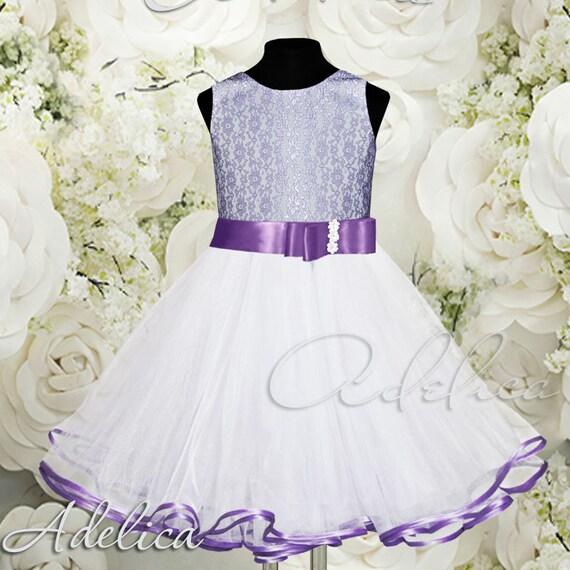White lilac knee length tulle lace flower girl dress wedding etsy image 0 mightylinksfo