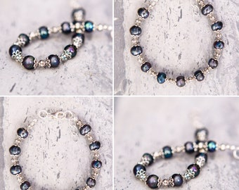 Freshwater Black Pearls & Pewter