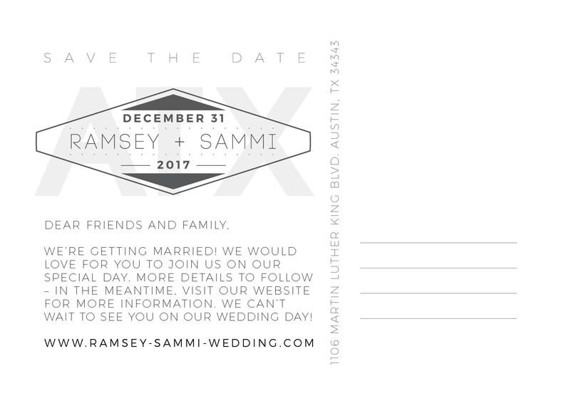Wedding Save the Date Three Photo Panel Postcard