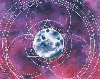 Cosmic Musings Moon Painting number 12, print from original watercolor