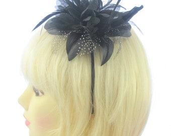 black star flower fascinator on a headband  e35f73de70e