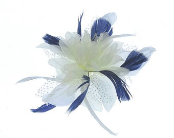 Cream and Navy blue flower fascinator comb for ladies day, weddings, races, prom