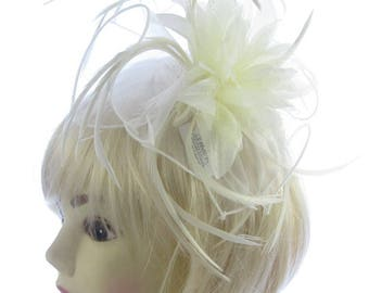Large Cream hair Fascinator comb, Weddings, Races, Prom