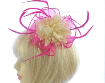 Hot Pink and cream fascinator comb hat weddings, Races, Prom
