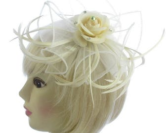 Cream organza with flower fascinator comb, weddings, races, ladied day