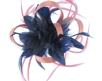 Navy and pink satin hoops fascinator comb, weddings, races, prom