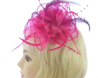 Hot pink fascinator comb, lace,beading and feathers, weddings, races, ladies day