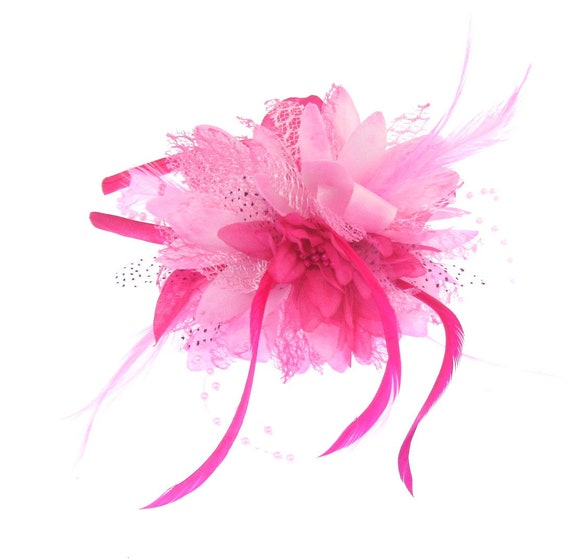 Hot pink and light pink fascinator headband weddings races  f6c71fb6481