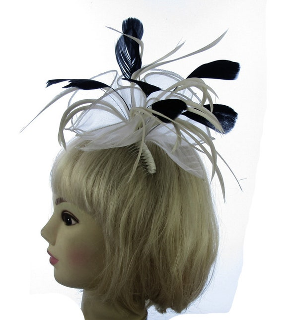 Silver Feather Fascinator for Races And Proms Weddings