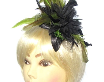Black and green  fascinator comb, for weddings, races, ladies day
