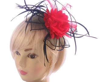 Black and Red Fascinator comb, Ascot races, weddings, Ladies day