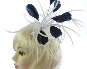 Cream and black fascinator comb, weddings, races, ladies day
