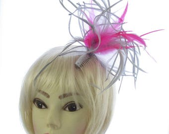 Silver grey and hot pink fascinator comb, weddings, races, prom