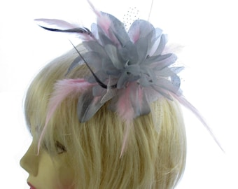 Silver Grey and Baby Pink fascinator comb, weddings, races, prom