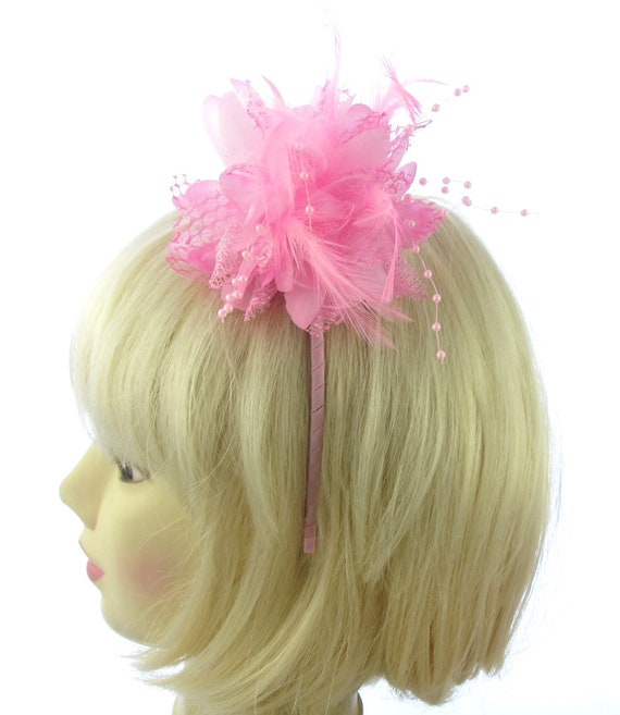 light pink fascinator with pearls clip for Ascot Weddings Races Ladies Day