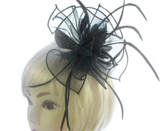 Large Black Fascinator comb for weddings, races, ladies day