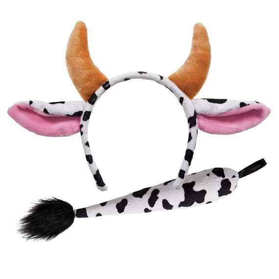 Cow Headband Nose /& Tail Costume Accessory Kit Adult One Size