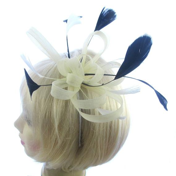 weddings races Cream fascinator swirl with black feathers headband