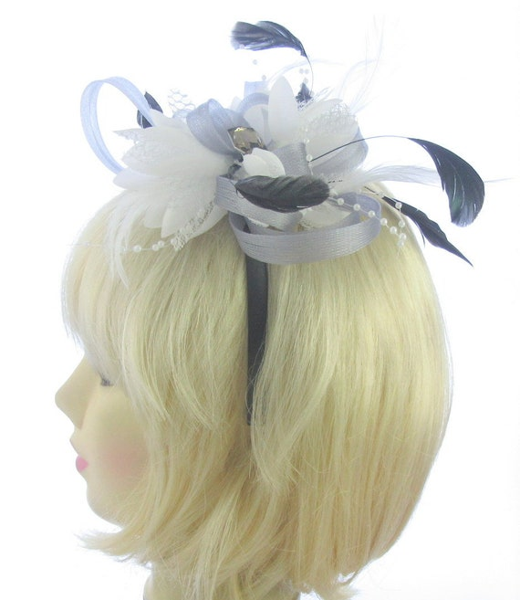 Silver grey and white fascinator headband weddings races  82cfa9d4f90